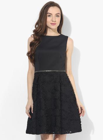 Dorothy Perkins Black Colored Embellished Skater Dress