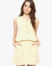 Harpa Cream Colored Solid Shift Dress