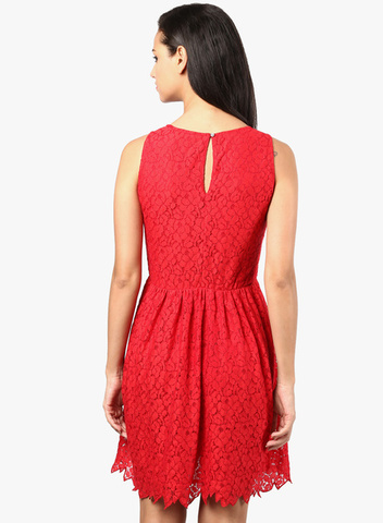 The Vanca Red Colored Embroidered Skater Dress
