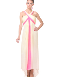 cream pure georgette goli darzi draped gown