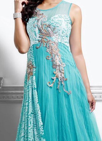 vogusih turquoise net gown