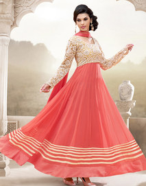 peach georgette ankle length anarkali