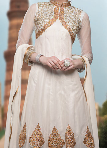 alluring embroidered net kalidar suit