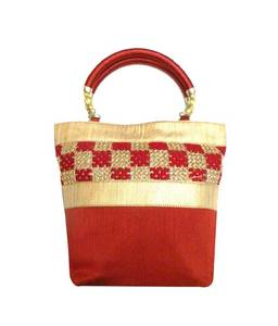 Raw silk handbag with floral border