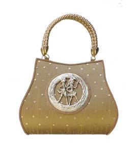 Raw silk handbag with round tribal brooch (dark gold)