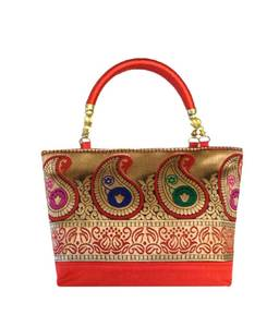 Raw silk handbag with traditional mango border (red)