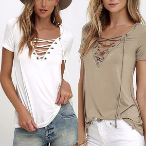 Sexy Front Lace Up Hollow Out Strappy Shirts