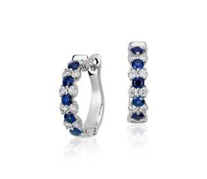 Sapphire and Diamond Garland Hoop Earrings