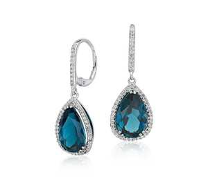 London Blue Topaz Halo Drop Earrings