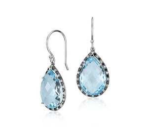 Robert Leser Blue Topaz and Diamond Pear Drop Earring