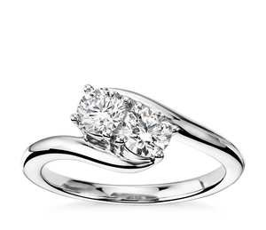 Two-Stone Solitaire Diamond Ring in 14k White Gold