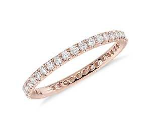 Riviera Pavé Diamond Eternity Ring in 14k Rose Gold