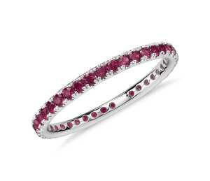 Riviera Pavé Ruby Eternity Ring in 18k White Gold