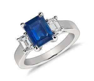 Emerald Cut Sapphire and Diamond Ring in Platinum