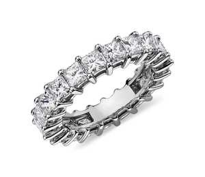 Princess Cut Diamond Eternity Ring in Platinum