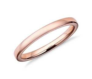 Low Dome Comfort Fit Wedding Ring in 14k Rose Gold