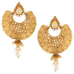 Kundan ginni lakshmi coin south indian jhumka pearl earring