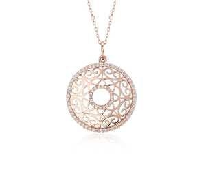 Laser Cut Diamond Circle Pendant in 14k Rose Gold