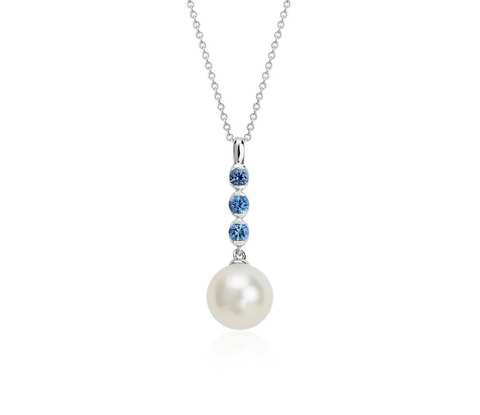 Freshwater Cultured Pearl and Sapphire Drop Pendant in 14k White Gold