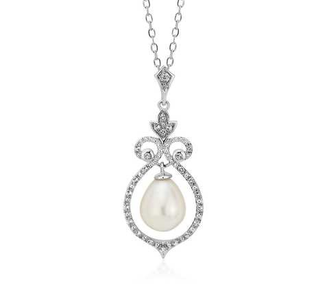 Vintage-Inspired Freshwater Cultured Pearl and White Topaz Pendant in Sterling Silver