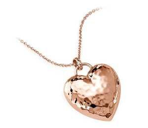 Hammered Heart Pendant in 14k Rose Gold