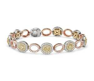 Yellow and White Diamond Oval Halo Bracelet in 18k White, Rose and Yellow Gold