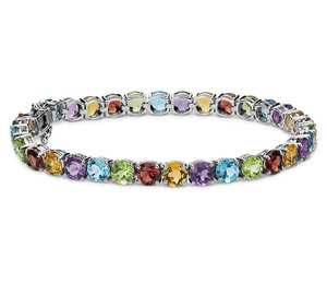 Multicolor Gemstone Bracelet in Sterling Silver