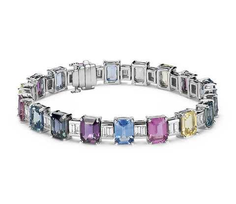 Fancy Sapphire and Diamond Bracelet in 18k White Gold