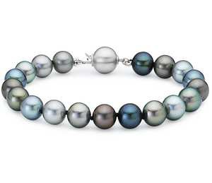 Multi-Color Tahitian Cultured Pearl Bracelet with 18k White Gold
