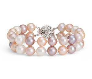 Double-Strand Pink Freshwater Cultured Pearl Bracelet in 14k White Gold