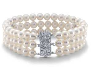 Triple-Strand Freshwater Cultured Pearl Bracelet in 14k White Gold