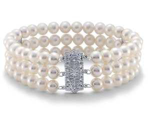 Triple-Strand Freshwater Cultured Pearl Bracelet in 14k White Gold