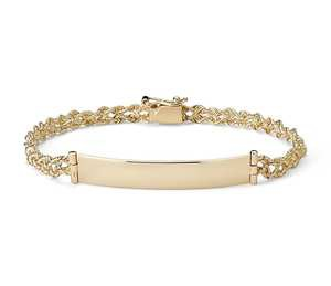 Engraveable ID Bracelet in 14k Yellow Gold