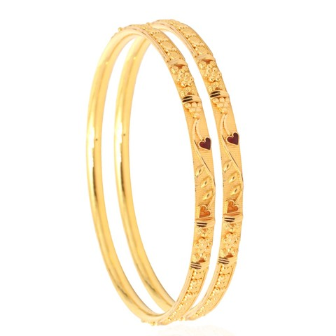Daily wear floral gold bangles