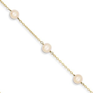 White Pearl Anklet in Gold