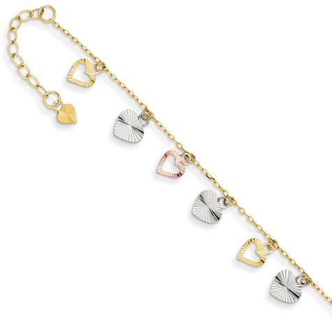 Heart charm dangle gold anklet