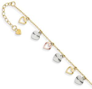 Heart charm dangle gold anklet
