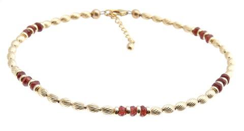 Garnet gold anklet