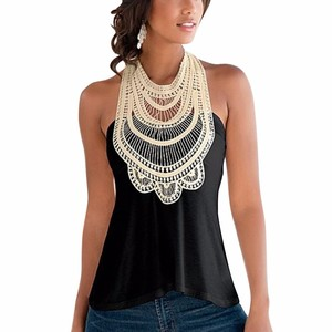 Elegant Flower Embroidery Lace Tank Top