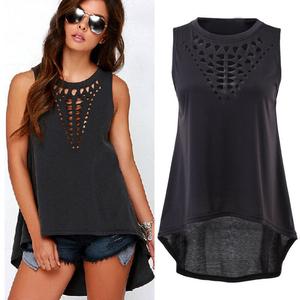 Lovebite Women Plus Size Hollow Sleeveless Swallowtail Shirt