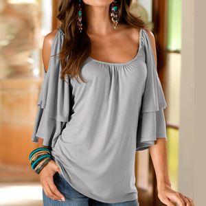 Women Blouses Shirts Tops Off Shoulder Haif Sleeve Crewneck