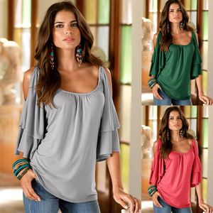 Women Blouses Shirts Tops Off Shoulder Haif Sleeve Crewneck