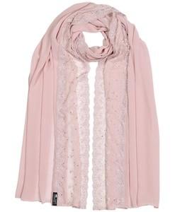 ILM Chiffon Rose Rhinestone Lace Hijab