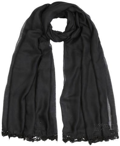 Black Viscose Lace Trim Hijab