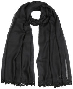 Black Viscose Lace Trim Hijab