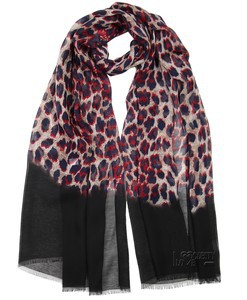 Black Border Crimson Animal Print Chiffon Hijab