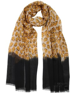 Black Border Yellow Animal Print Chiffon Hijab