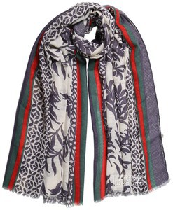 Leaf Print Blue & White Modal Hijab