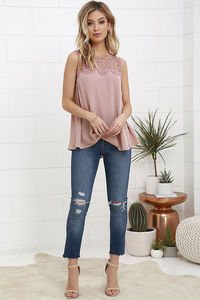 Lovebite Patchwork Floral Lace Women Casual Top