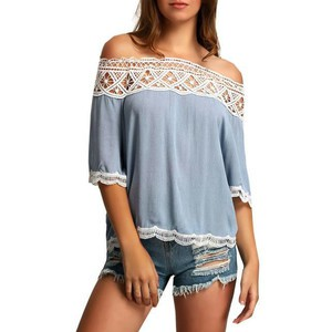 Lovebite Ladies Solid Blouse Off The Shoulder LACE Women's Smock Top